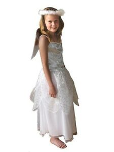 GIRLS DELUXE ANGEL COSTUME HALO WINGS CHRISTMAS NATIVITY FANCY DRESS SCHOOL PLAY
