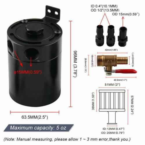2-Port Oil Catch Can Tank Reservoir with Drain Valve Breather Baffled Aluminium