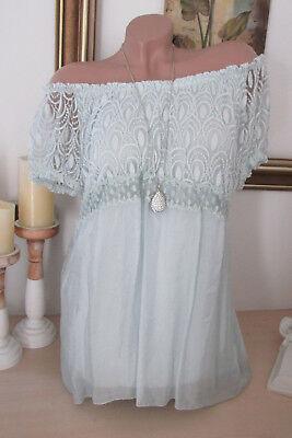 ITALY Sommer Tunika Boho Shirt mit Schnürung Bluse Vanille 34 36 38 NEU