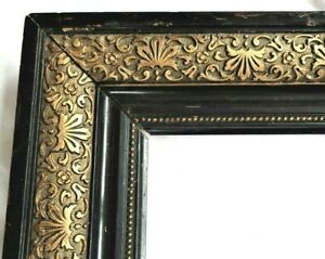 BIG ANTIQUE FITS 14X19 GOLD BLACK ORNATE PICTURE FRAME WOOD FINE ART COUNTRY