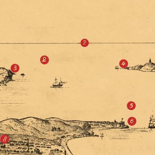 Vintage Reprint Poster HUGE SAN FRANCISCO Points of Interest MAP circa 1871