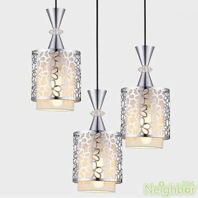 Modern Crystal Iron Ceiling Light Pendant Lamp Dining room Chandelier + LED bulb
