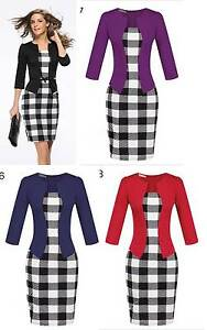 Women-Business-Party-Pencil-Dress-Celebrity-Plaid-Office-Work-Career-8-18-16-3-4