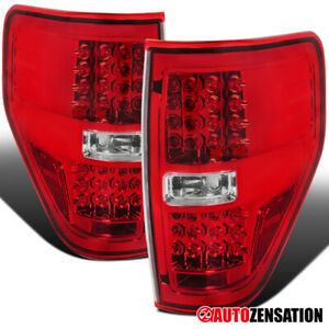 Autozensation For Ford F150 Pickup Truck Red LED Rear Tail Brake Lights Pair