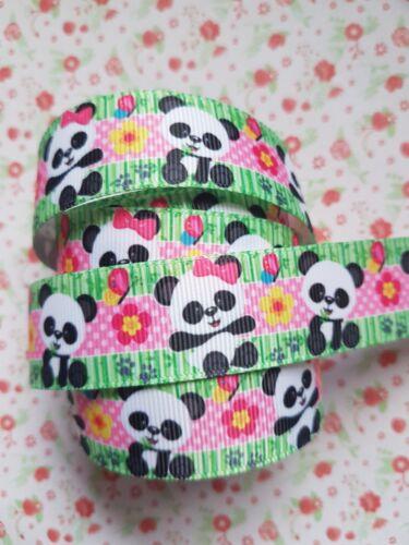1 m x Mignon Panda Ruban Imprimé Grosgrain Craft Bow Gâteau 25 mm UK *
