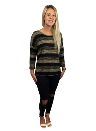 LADIES EX FAMOUS STORE NATURAL MIX STRIPED 3/4 SLEEVE JUMPER KNITWEAR TOP M&5 MS