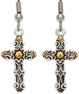 Silver-Gold-Cross-Earrings-Handmade-Religious-Jewelry-Gift-Plated-Dangle-New