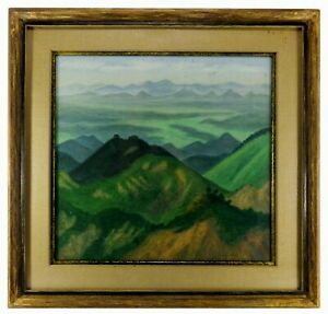 RARE-MID-20TH-C-JAPANESE-VINT-OIL-ON-LINEN-LANDSCAPE-PAINTING-W-ORIG-FRAME-MAT