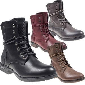 5242-Coole-Damen-Stiefel-Stiefelette-Ankle-Boots-Booties-Schnurschuhe-High-Top