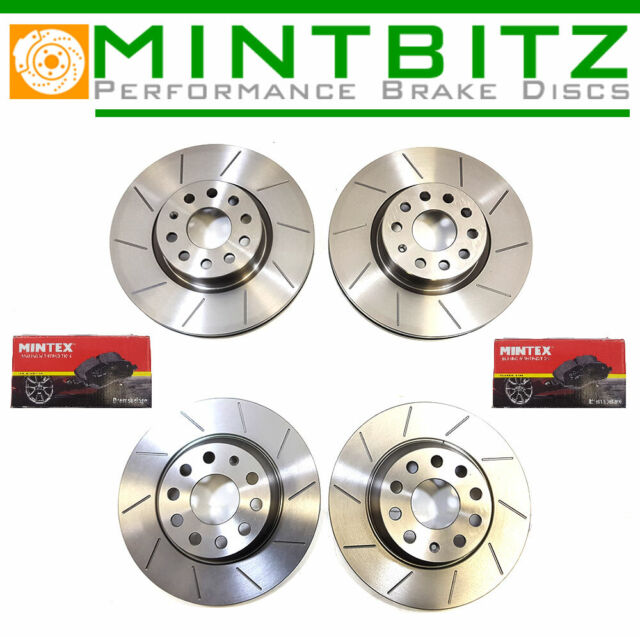 BMW E46 Saloon 320d 98-01 Front Brake Discs Drilled Grooved Mtec Gold Edition
