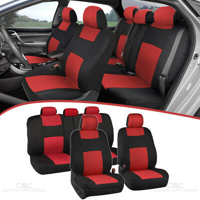 Peachy Universal Split Bench Car Seat Covers For Front Rear Two Tone Black Red Ebay Dailytribune Chair Design For Home Dailytribuneorg
