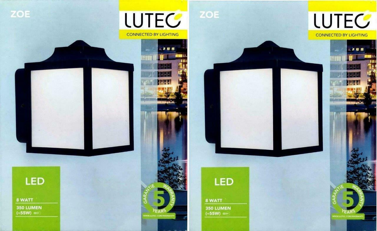2 x Lutec Kelsey Outdoor Coach Light Black with Textured Glass IP44 Weatherproof