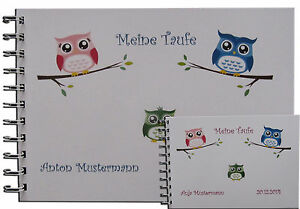 Spruch Zur Taufe Karte.Details Zu Gästebuch Fotoalbum Taufe Geschenk Karte Einladung Baby Spruch Gedicht Eule A5