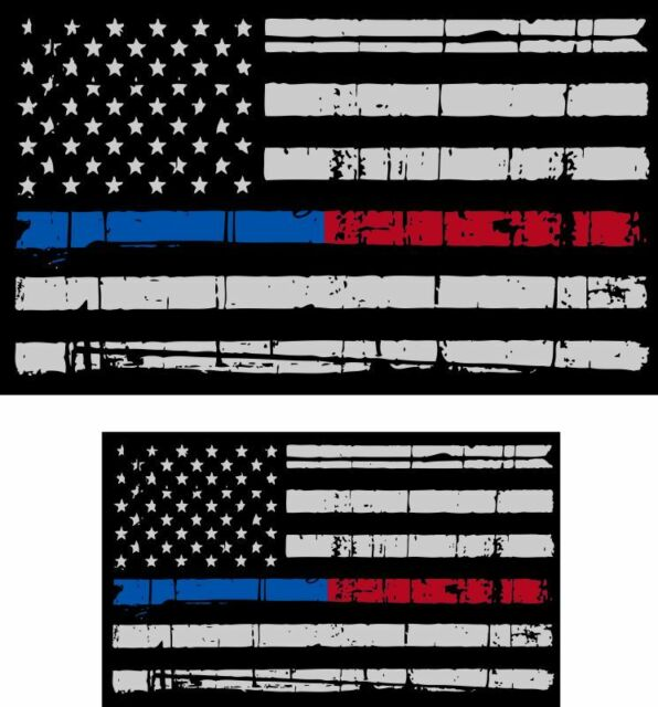 Red Line American Flag >> Tattered Police Fire Thin Blue Red Line Reflective American Flag Decal X 2