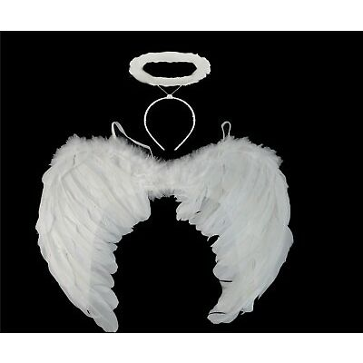 WHITE ANGEL FAIRY WINGS AND HALO XMAS ANGEL FANCY DRESS HALLOWEEN COSTUME GOTHIC