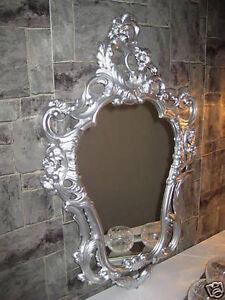 Baroque Mirror Wall Oval Repro Antique Silver 50X76 Deco