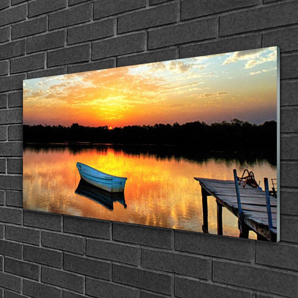 Tableau sur verre Image Impression 100x50 Paysage Bateau Pont Lac