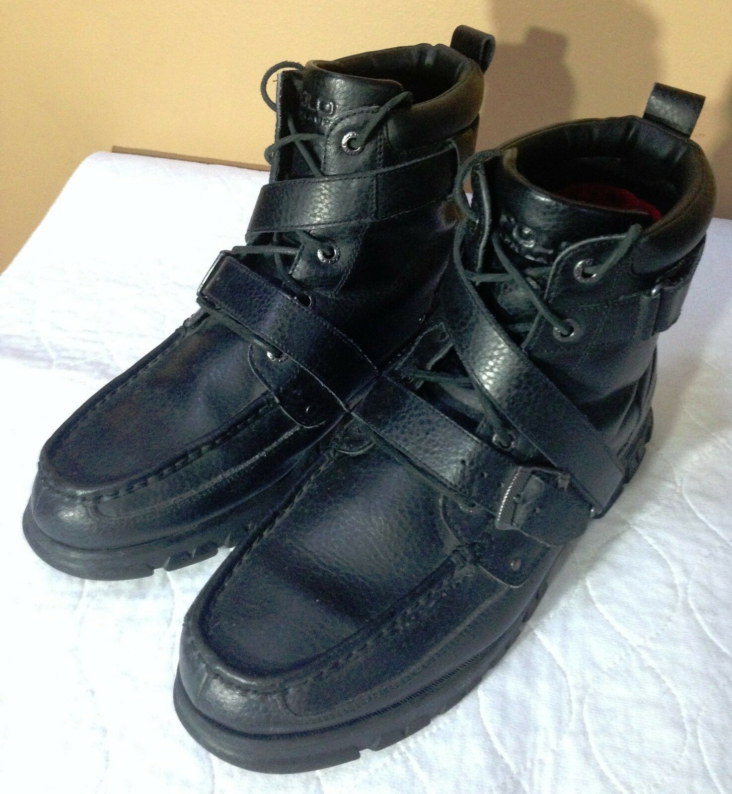 POLO Ralph Lauren Black Leather Boots Zig Zag II Buckle Lace Up size 13D