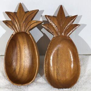 Handcarved Pineapple Kamani wood bowl Monkey Pod Snack Bowl Primitive Hawaiian Folk art Wood Boho Trinket Bowl Hawaii Souvenir Coastal Decor