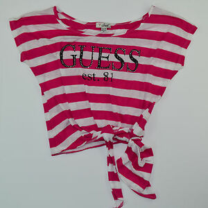 vtg-90s-Women-039-s-GUESS-JEANS-Striped-T-Shirt-Size-XS-S-Spell-Out-Red-White