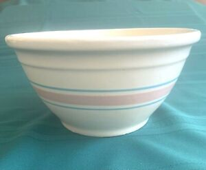"""Vintage 10"""" McCoy USA Pottery Mixing Bowl with   Pink and Blue Stripes"""