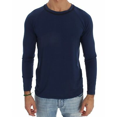 NEW $170 ERMANNO SCERVINO Underwear Sweater Blue Modal Stretch T-shirt IT48 / M