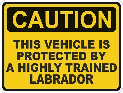 1x CAUTION PROTECTED BY LABRADOR WARNING FUNNY STICKER