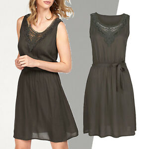 geniales-sommerliches-luftiges-Kleid-Gr-42-Viscose-KHAKI-Webkleid-Spitze-OLIV