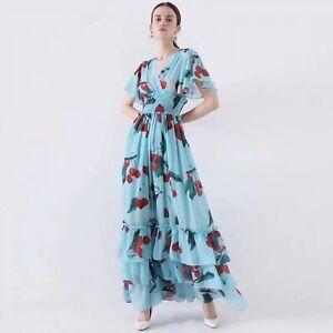 PGM-Womens-V-neck-Elastic-waist-Floral-Print-Maxi-Dress-Ruffles-Angel-Sleeve