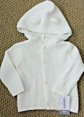 Carter/'s Sweater Cardigan  6 12 M Girl/'s NWT White Cotton