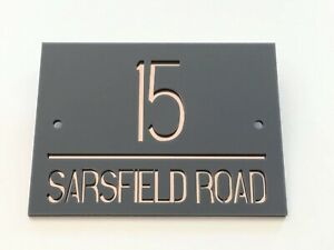 Modern Acrylic House Sign Door Number Name Road Plaque.Mirror//Gloss