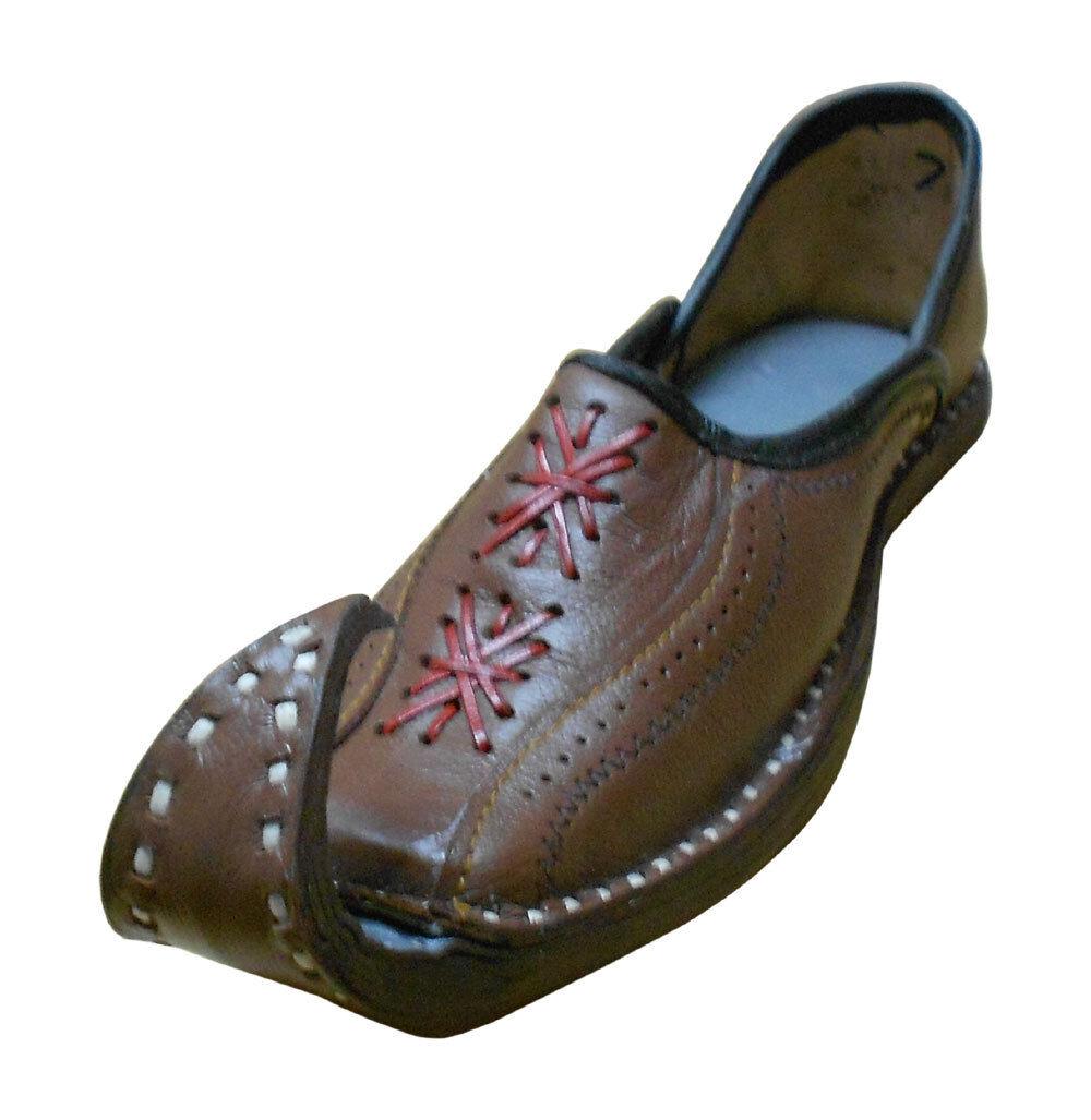 Men shoes Indian Handmade Mojari Brown Khussa Flip-Flops Boat shoes Flat US 8.5