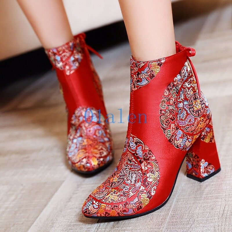 01 Womens Flower Print Wedding Ankle Boots National Vintage Classical Red shoes