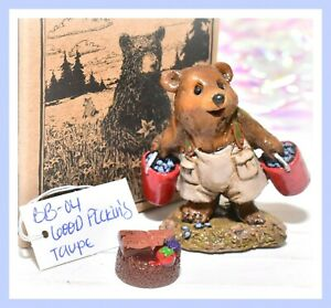 ❤️Wee Forest Folk BB-04 Good Pickin's Blueberry Bear Box Retired WFF 1995 BB-4❤️