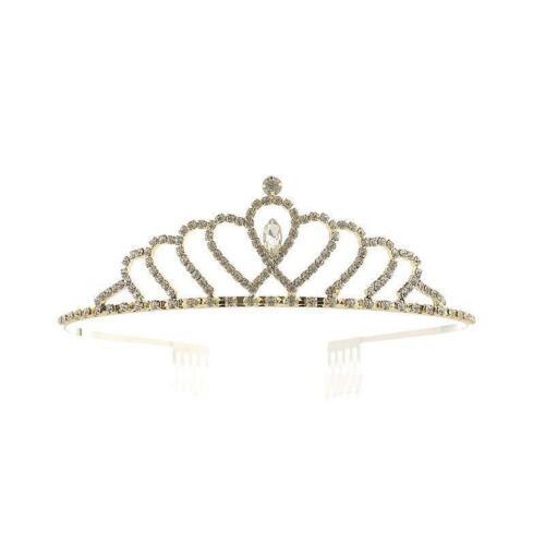 "60670 1.4/"" Gold Clear Rhinestone Crown Tiara"