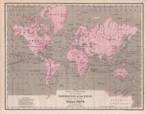 Orig antique map 1868 mitchells world map ocean temperature image is loading orig antique map 1868 mitchell 039 s world gumiabroncs Images