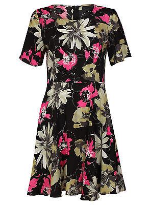 Ex Papaya Black Pink Floral Print Dress Tunic Size 8-20