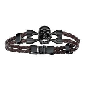 Fashion-Skull-Head-Mens-Black-Leather-Zinc-Alloy-Bracelet-Boy-Wristband