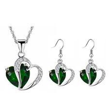 Purple Sapphire Blue Red and Green Hearts Jewellery Zircon Set Earrings Necklace
