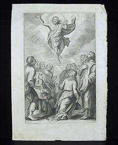 Ascension Du Christ Gravure Religieuse C1700 Pierre Mathieu Ogier (xvii-xviii) Apparence éLéGante