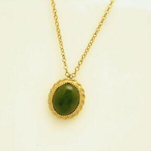 Vintage-12KT-Gold-Filled-Jade-Stone-Pendant-Necklace-Delicate-Feminine