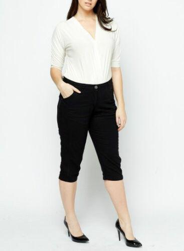 NEW NEXT Black Summer 3//4 Length Crop Linen Trousers PLUS SIZE 18 20 22 CURVE