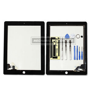 Black-Apple-iPad-2-Digitizer-Glass-Touch-Screen-replacement-home-button-3g-wifi