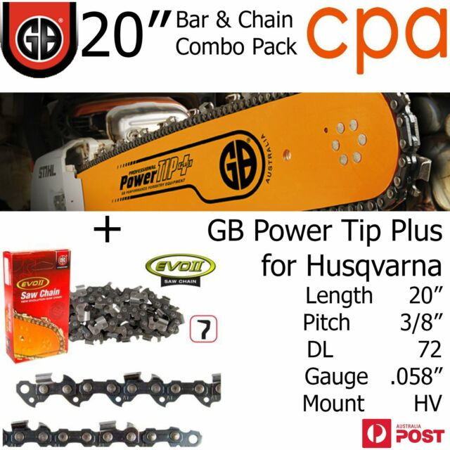 """20"""" GB Chainsaw Bar & Chain Combo Power Tip+  3/8"""" DL72 .058"""" for Husqvarna"""