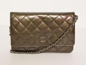 9341ecf5374f07 CHANEL Army Green Quilted Patent Leather CC Mini Clutch Wallet On ...