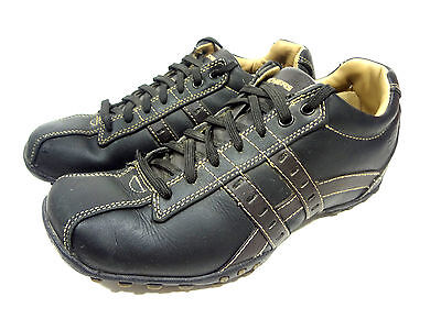 skechers mens mismatched sneakers black leather casual