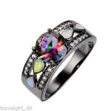 Rainbow Mystic Topaz Fire Opal Black Gold Filled Infinity Ring Size P (US 8)