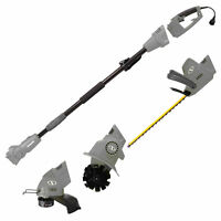 Sun Joe Electric Lawn Care System Pole Hedge Grass Trimmer Tiller (Grey)
