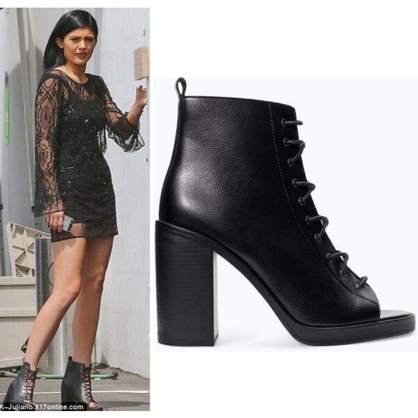 Zara Faux Cuir noir Bottines à Talon Haut Lacets Taille 8UK 41EUR neuf étiquettes