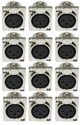 12 x XLR Einbaubuchse female 3-pol D-Typ Einbaukupplung-Buchse 3 pol. weiblich